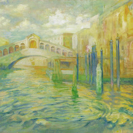 Yuriy Matrosov: 'view of the rialto bridge', 2019 Oil Painting, Cityscape. Artist Description: This artwork depicting the Rialto bridge in Venice. For this painting, I applied several layers of paint to the canvas in classic oil painting technique. I used a strong light and heavy shadows to create depth in a painting and a centre of interest. Hanging hardware is included....