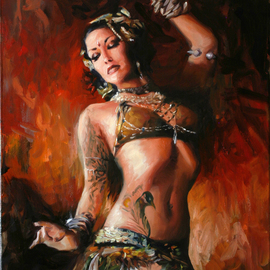 Matt Abraxas: 'Fire Dance', 2009 Oil Painting, Figurative. Artist Description:  Belly dance, sharon kihara, tribal dance, belly dancer, figure painting, figurative, sexy, painterly, brushwork, sensual, woman, dancer, dance ...