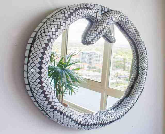 Mauricio Aybar Artwork Snake Mirror Original Mosaic