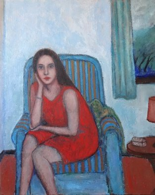 Massimiliano Ligabue Artwork Woman on armchair with a storm outside, 2015 Oil Painting, Figurative