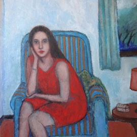 Woman on armchair with a storm outside By Massimiliano Ligabue
