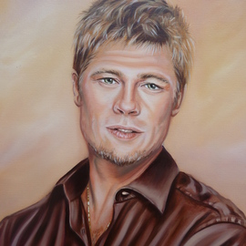 Marion Dutton: 'Portrait of Brad Pitt', 2012 Oil Painting, Portrait. Artist Description:   Portrait of Brad Pitt.  This is also a demo on You tube, search for mazart studio or 7 steps to painting Brad Pitt ...