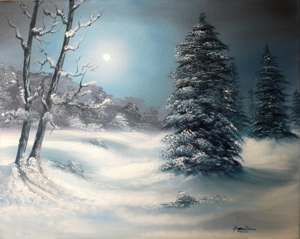 Winter Night Scene Paintings   www.pixshark.com - Images ...