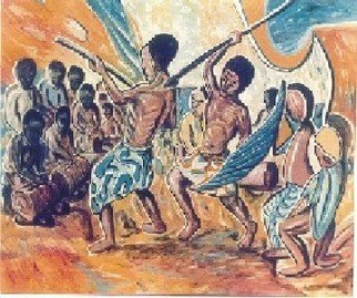 Sir Mbonu Christopher Emerem: 'The Warriors Dance 1', 1990 Oil Painting, Ethnic.