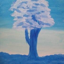 Mckayla Hurd: 'sky tree', 2018 Acrylic Painting, Trees. Artist Description: I m an 11 yr old who loves to paint this is my tree in the sky painting ...