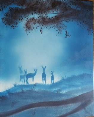 Michael Mcneill Artwork Misty morning deer, 2016 Oil Painting, Nature