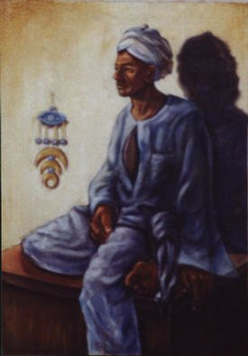 Mohamed Abdeldayem Artwork model in gallabia, 2000 Oil Painting, Figurative