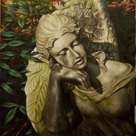 Mike Jones: 'Nandina Angel', 2008 Oil Painting, Figurative. Artist Description:  A painting of a statue in my front yard ...
