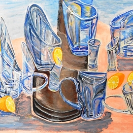 Medea Ioseliani: 'glass and lemon', 2017 Acrylic Painting, Still Life. Artist Description: The picture shows the party mood at home where glasses dance with lemons...