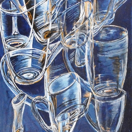 Medea Ioseliani: 'glasses in blue', 2017 Acrylic Painting, Still Life. Artist Description: The picture creates the party mood at home ...