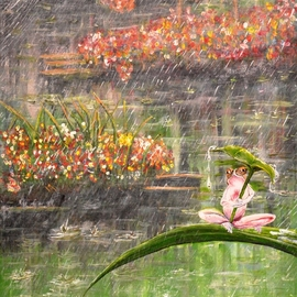 Medea Ioseliani: 'little frog in the rainy pond', 2017 Acrylic Painting, Wildlife. Artist Description: A little frog is wet and annoyed by rain in the pond with flowers...