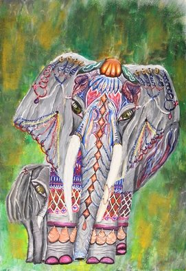 Medea Ioseliani: 'thai gaiant', 2017 Acrylic Painting, Animals. Artist Description: Thai Elephant Dressed in Jewelry...