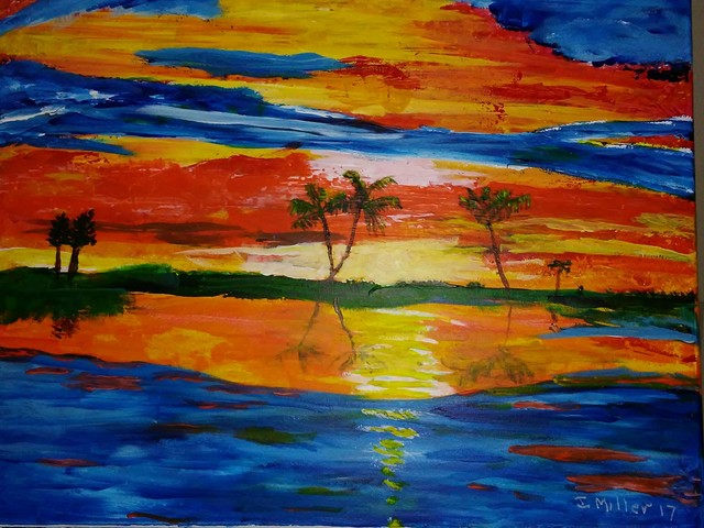 Israel Miller  'Brilliant Sunset', created in 2018, Original Painting Acrylic.