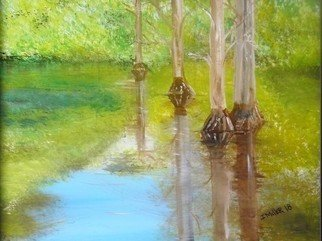 Israel Miller: 'cypress swamp', 2018 Acrylic Painting, Fauna. Artist Description: Cypress swamp in south FL...