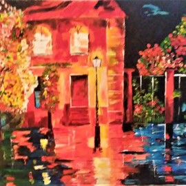 Israel Miller: 'rainy night', 2018 Acrylic Painting, Scenic. Artist Description: rainy night down south...