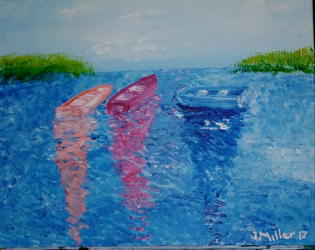 Israel Miller  'Three Little Boats', created in 2017, Original Painting Acrylic.
