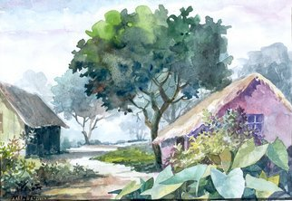 Artist: Mintu Maji - Title: landscape - Medium: Watercolor - Year: 2013