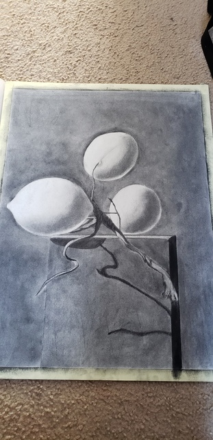 Artist Mei Ling Fontes. 'When Life Gives You Lemons' Artwork Image, Created in 2018, Original Drawing Charcoal. #art #artist