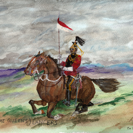 Mel Beasley: '16th royal lancer', 2018 Other Painting, Military. Artist Description: Mounted 16th Lancer. ...