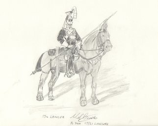Mel Beasley: '17th lancer', 2018 Pencil Drawing, Military. Artist Description: Mounted Trooper 17th Lancers. ...