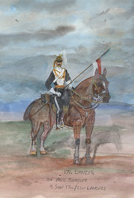 Mel Beasley: '17th lancer', 2018 Watercolor, Military. Artist Description: Mounted 17th Lancer. ...