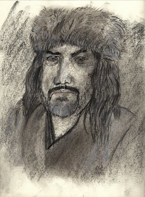 Mel Beasley: 'viking', 2018 Charcoal Drawing, Portrait. Artist Description: Portrait of a Viking reenactor. ...