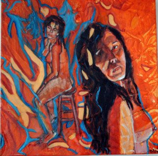 Melcha C: 'Behind the shadows', 2008 Acrylic Painting, nudes.  Acrylic and mixed media on canvas.  Lots of textures!    ...