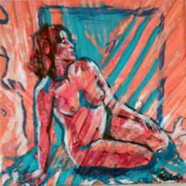 Melcha C: 'Nostalgie', 2008 Acrylic Painting, nudes. Artist Description:    Acrylic and mixed media on canvas.           ...