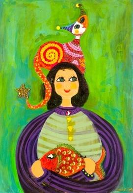 Artist: Selin Melek Aktan - Title: Cat and fish - Medium: Acrylic Painting - Year: 2007