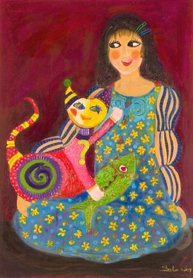 Cats Acrylic Painting by Selin Melek Aktan Title: I love you cat, created in 2007