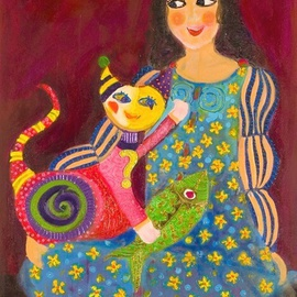 Selin Melek Aktan Artwork I love you cat, 2007 Acrylic Painting, Cats