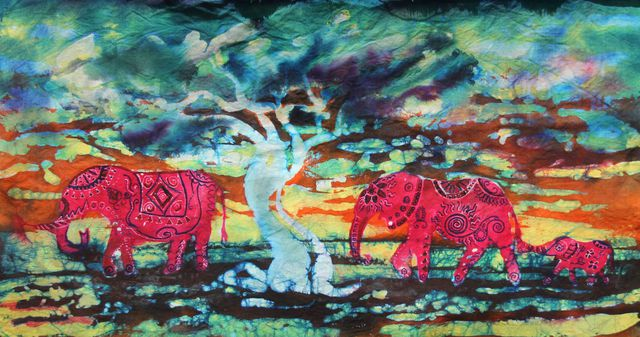Melissa Burgher  '3 Red Elephants', created in 2015, Original Painting Oil.