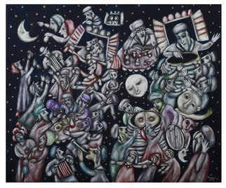 Melita Kraus: 'Wise people of Chelm 1', 2016 Tempera Painting, Judaic. Artist Description: Judaic art depicting a scene from famous Jewish folk stories about wise people of Chelm catching the Moon in the barrel. Often compared to Chagall school of painting. ...