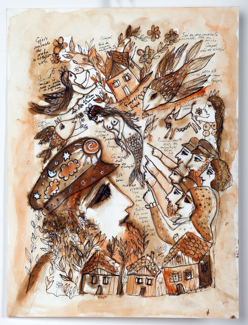 Melita Kraus  'Gimpel The Fool', created in 2014, Original Painting Ink.