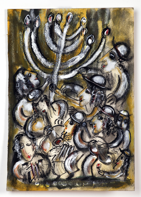 Artist Melita Kraus. 'Hanukkah Klezmer Band' Artwork Image, Created in 2016, Original Painting Ink. #art #artist