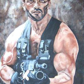 Carmella D'auria: 'Arnold Schwarzenegger', 2001 Acrylic Painting, Portrait. Artist Description: Arnold in