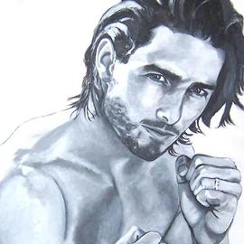 Carmella D'auria: 'Boxing Tom', 2001 Acrylic Painting, Portrait. Artist Description: Tom Cruise in black & white...