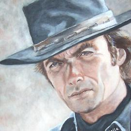 Carmella D'auria: 'Clint Eastwood', 2002 Acrylic Painting, Portrait. Artist Description: Clint Eastwood in color acrylics...