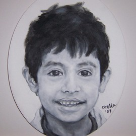Carmella D'auria: 'Daniel', 2007 Acrylic Painting, Children. Artist Description:  black & white acrylic  ...
