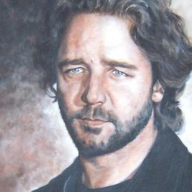 Carmella D'auria: 'Handsome Russell', 2004 Acrylic Painting, Portrait. Artist Description: Russell Crowe in color acrylics...