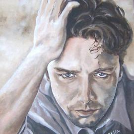 Carmella D'auria: 'Russell Crowe', 2002 Acrylic Painting, Portrait. Artist Description: Russell Crowe in