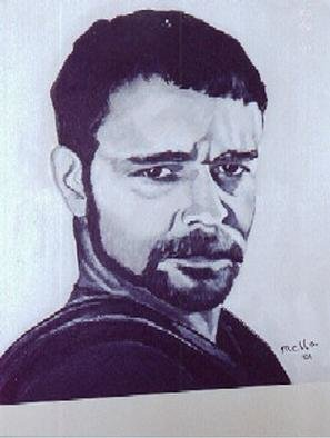Carmella Dauria: 'Russell Crowe Gladiator', 2001 Acrylic Painting, Portrait. 1st painting of Russell Crowe - Gladiator in black & white acrylics on canvas...