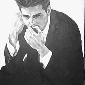 Carmella D'auria: 'Tom Cruise', 2001 Acrylic Painting, Portrait. Artist Description: Tom Cruise in black & white acrylics...