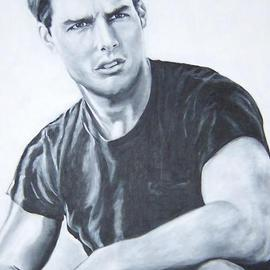 Carmella D'auria: 'Tom Cruise', 2004 Acrylic Painting, Portrait. Artist Description: Tom Cruise in black & white...