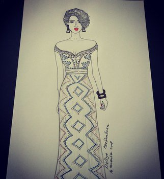 Melsye Stianna: 'fashion', 2018 Pen Drawing, Fashion. Artist Description: drawing party dresses is very unique...