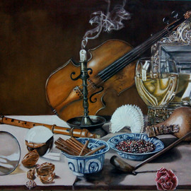 Hendra Prawira: 'Still life 02', 2015 Acrylic Painting, Still Life. Artist Description:   art, painting, acrylic, , memento, still life, art lover, violin, living room, kitchen    ...