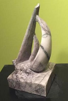 Merewyn Heath: 'Catamaran Sail', 2016 Marble Sculpture, Boating.  Incredible carved Turkish Marble with elegant veins of dark lilac gray makes this sailing catamaran a unique statement in fine art. ...