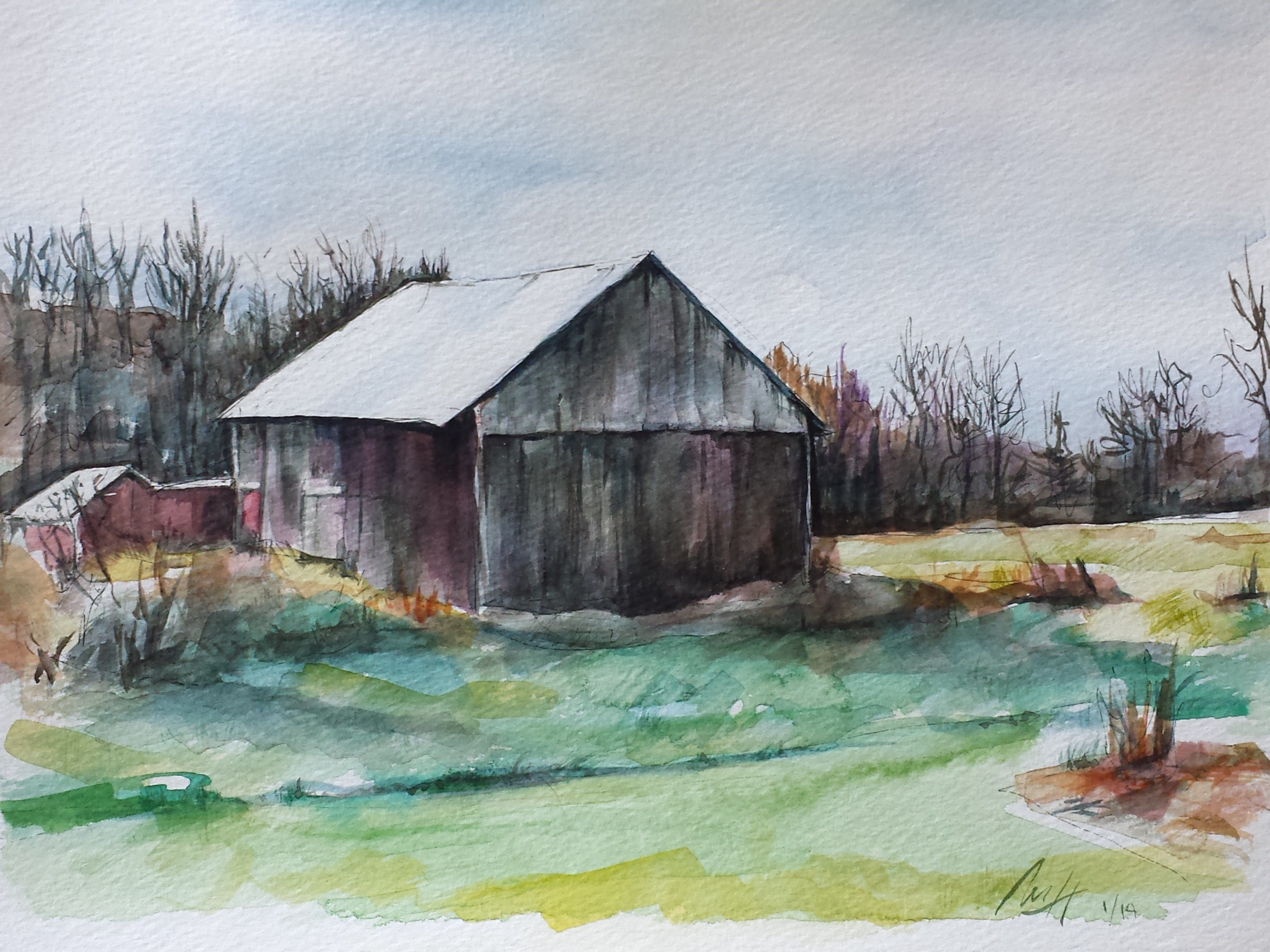 Merrilyne Hendrickson: 'lebaron family barn', 2015 Watercolor, Farm. An old barn belonging to high school friend s family is fondly nestled in the peaceful Cambridge Valley.  So many colors in old wood only watercolor can capture...