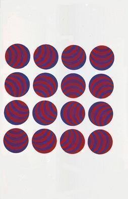 Youri Messen-jaschin: 'Red Blue', 1966 Tempera Painting, Optical. Gouache on paper(r) 1966. by ProLitteris PO. Box  CH- 8033 Zurich (c) 1966 by Youri Messen- Jaschin Switzerland ...