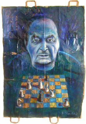 Eduardo Diaz: 'Checkmate ', 2003 Mixed Media, Political. Acrylic, pastel and oil painting on paper...